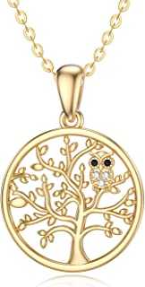 14k Solid Gold owl Necklaces for Women - Moissanite Necklaces Gold Jewelry Present for Wife Girlfriend Mother