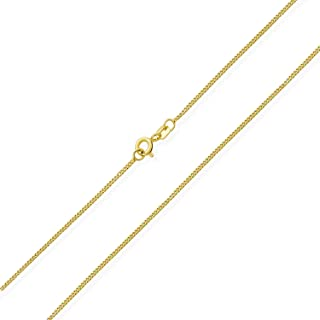 Plain Miami Cuban Curb Chain Necklace For Women Men 14K Gold Plate 925 Sterling Silver Made In Italy 14 16 18 20 24 Inch
