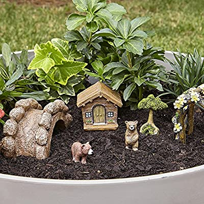 Small Fairy Garden Kit with Bears for Potted Plant