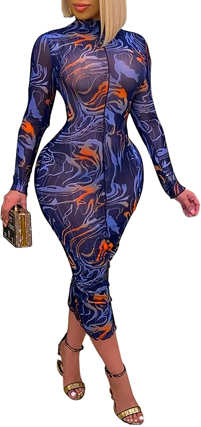 Uni Clau Ultra-Cheap Deals Long At the price of surprise Sleeve Mesh Bodycon Sexy Sheer - Dresses Women for