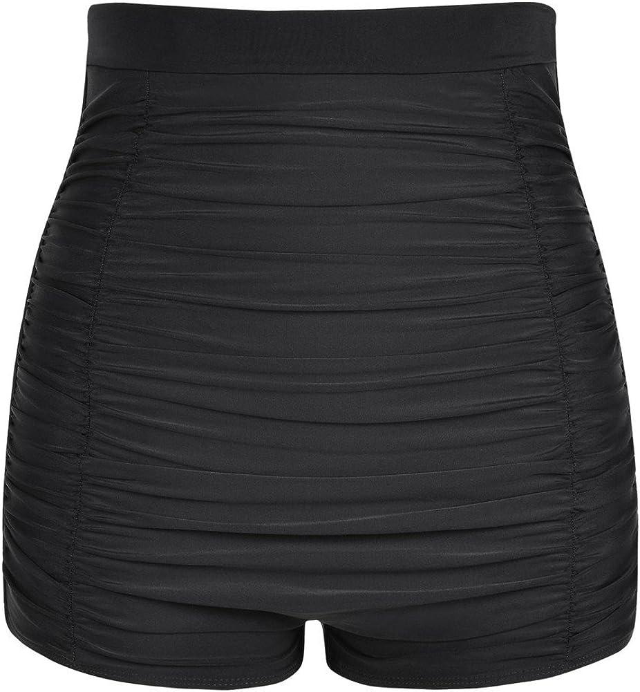 Firpearl Women's High Waisted Bikini Bottom 50s Ruched Boyleg Swim Shorts Swimsuit Bottom