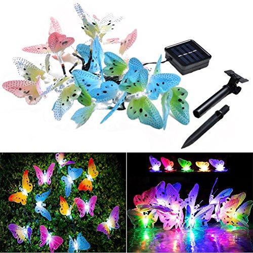 ledmomo 20LED optische Schmetterling in Form von die Sequenz-Licht Solar Garten-Feen von Weihnachten 4.9M (mehrfarbig)