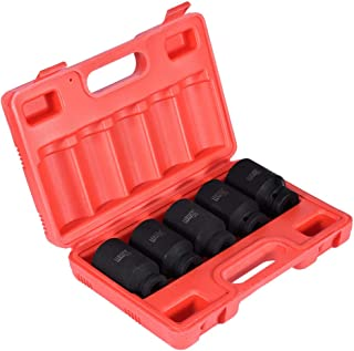 Mostbest 1/2-Inch Drive Deep Spindle Axle Nut Impact Socket Set, Drive Deep Impact Socket Set, Inch, 5 Piece Axle Hub Nut Socket Set 33-38mm