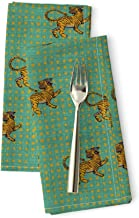 Roostery Mint Bengal Tiger Luxe Cotton Sateen Dinner Napkins Jai Turk Dot Yellow On Aqua Vintage Inspired Linen Look Boho Home Decor Turquoise Green Geo by Holli Zollinger Set of 2 Dinner Napkins
