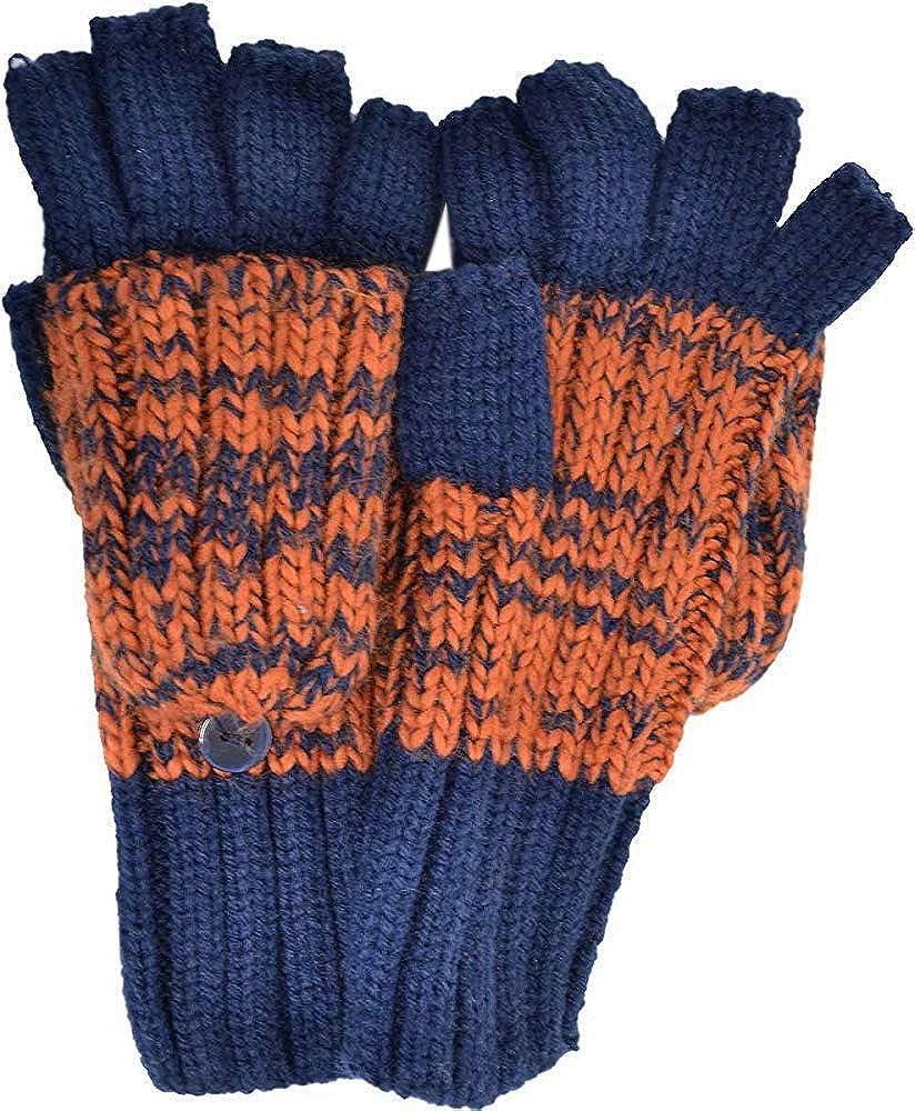Rampage Women's Marled Flip-Top Gloves (One Size, Navy, Dark Orange)