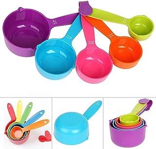 مجموعة ملاعق قياس للمطبخ وكوب قياس، سهلة الحمل، مناسبة كادوات خبز وادوات قياس (اللون: متعددة الالوان)، مجموعة من 5 قطع