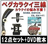 三線 ペグカラクイ三線 人工皮 初心者用12点セット + DVD教本