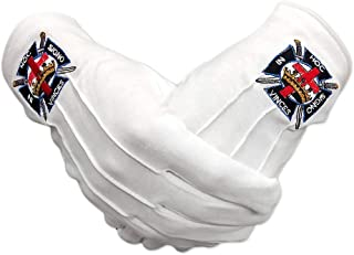 Masonic Knights Templars White Cotton Gloves