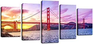 Biuteawal - City Canvas Wall Art Beautiful San Francisco Golden Gate Bridge at Sunset Picture Painting on Canvas Print for Home Wall Decoration Framed Ready to Hang