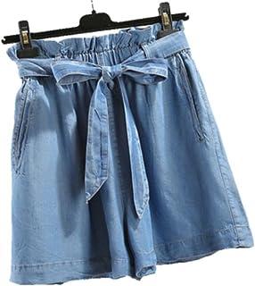 (ニカ) レディース ショートパンツ 薄手 軽量 デニムパンツ 夏 無地 ウエスト パンツ ゆったり パンツ