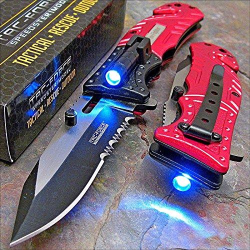 Pocket Knife Tac-Force Red Fire Fighter Led Tactical Rescue