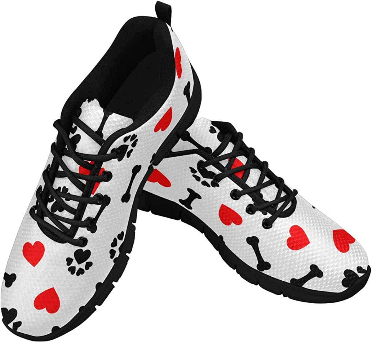 INTERESTPRINT Dog Bone, Paw Print and Red Heart Lightweight Mesh Breathable Sneakers for Women
