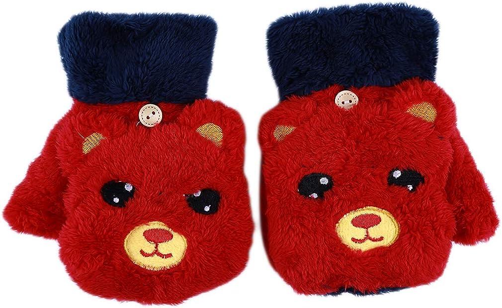 Firecolor Fingerless Plush Mittens Winter Warm Bear Cartoon Cute Gloves Finger Half For Women