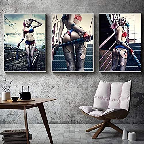 Rzhss 3 Piezas De Pintura De Lienzo Loca Harley Quinn Imagen De Bellas Artes Póster De Película Decoración De Niña Pintura Impresiones De Lienzo Decoración De Pared / 50X70Cm-Sin Marco