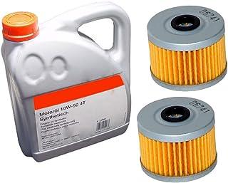 2x Ölfilter Ersatzteil für/kompatibel mit Explorer Trasher 450/520 + 4liter Power Synthetik 10W50 Öl