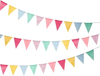 Shappy 18 Flags Imitated Burlap Pennant Banner, Multicolor Fabric Triangle Flag Bunting for Party Hanging Decoration