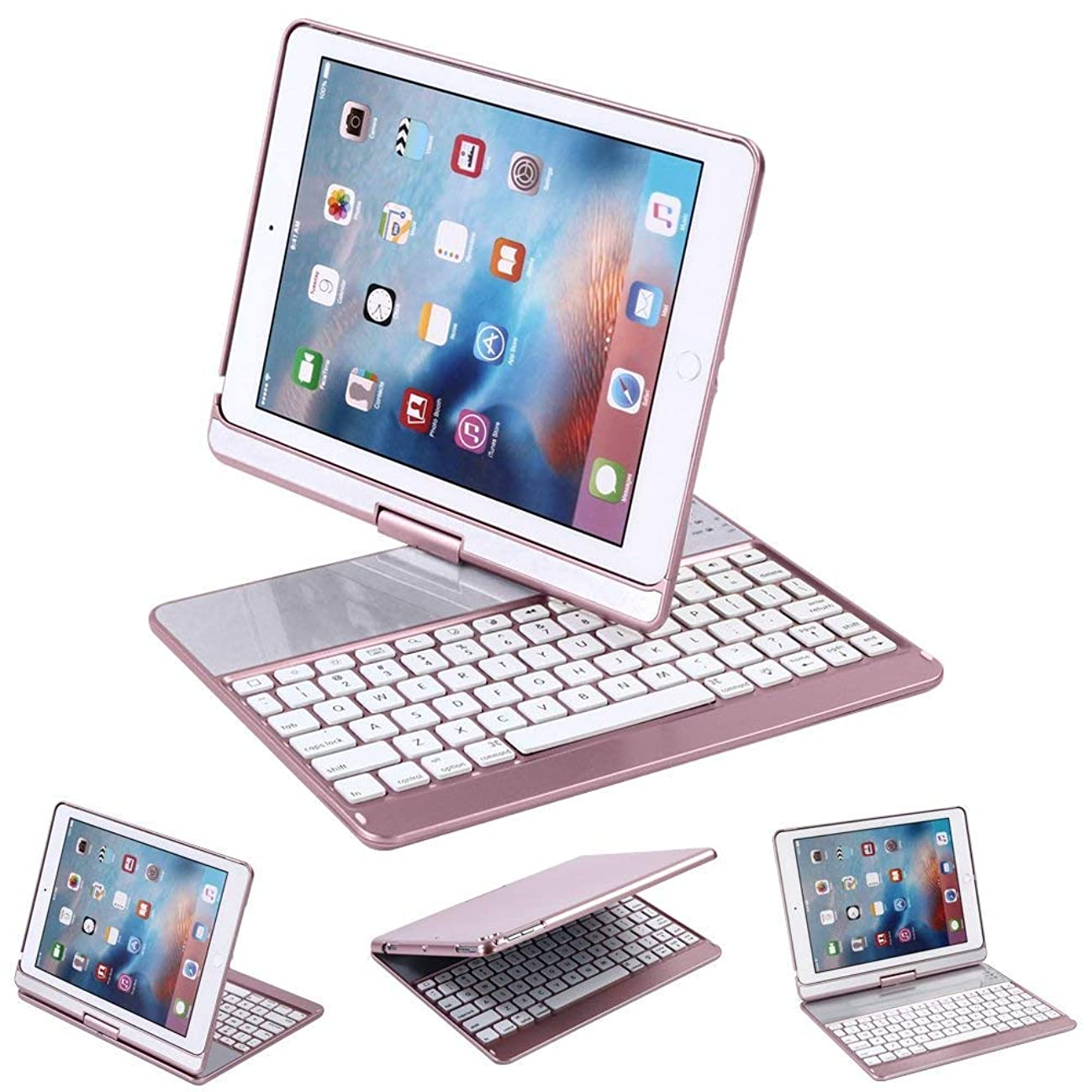 MOSTOP New iPad 9.7 2017 Keyboard Case Bluetooth Keyboard Protective Case with 7 Colors Backlits & 360° Rotation Stand for New iPad 9.7 2017 / iPad Air / iPad Air 2 / iPad Pro 9.7 (Rose Gold)
