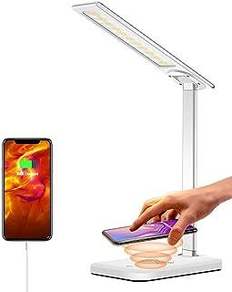 چراغ میز HARMONIC LED ، چراغ میز بی سیم شارژ ، پورت شارژ USB ، 3 حالت روشنایی ، 6 سطح روشنایی ، چراغ میز مراقبت از چشم برای نور برای دفتر ، خانه ، خوابگاه (شامل آداپتور)