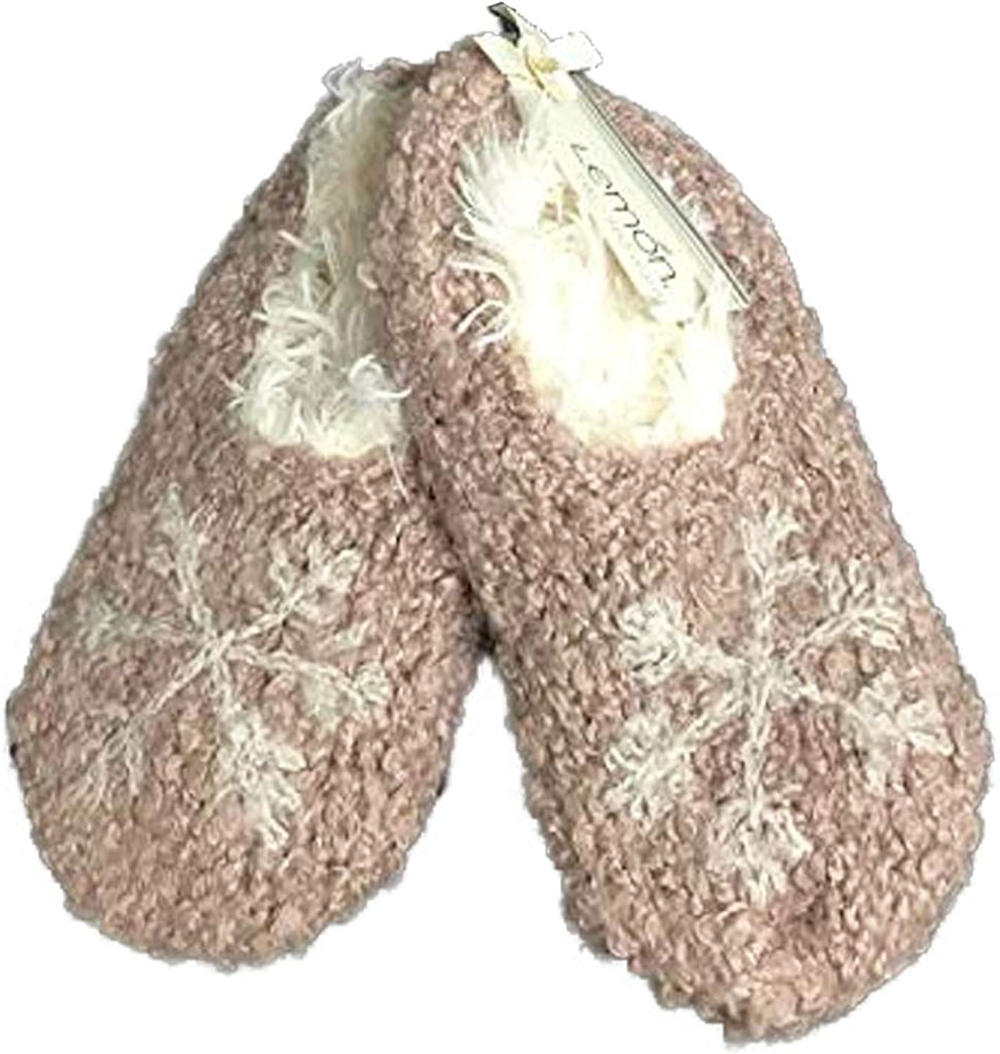 Boucle Snowflake Cozy and Warm Faux Fur Lined Short Bootie Slipper Acrylic Wool Blend