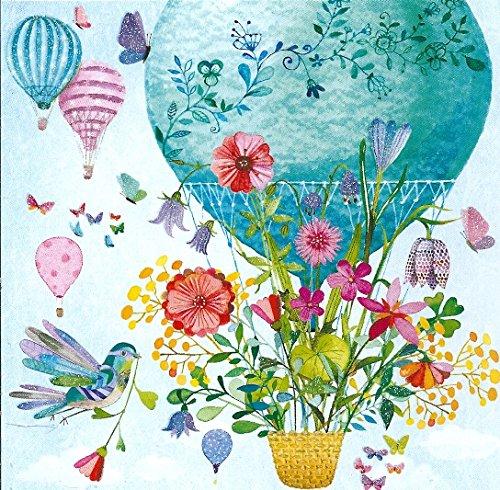 Quadratische Postkarte Mila Marquis * Ballon mit Blumen