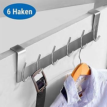 Aluminium T/ürhakenleiste mit 6 Haken und 2 T/ürhaken Edelstahl DeeAWai T/ürgarderobe T/ürhaken Set Kleiderhaken T/ür und Garderobenhaken ohne Bohren