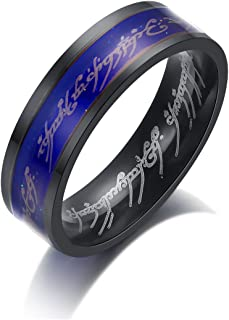 6mm Lord of The Rings Fan Emotional Color Changing Body Temperature Mood Ring Stainless Steel Fashion Women Men Wedding Band Gifts