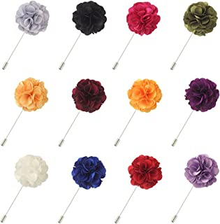 FM FM42 Men's Shiny Lapel Flower Handmade Boutonniere Pin for Suit Begonia (16 Colors)