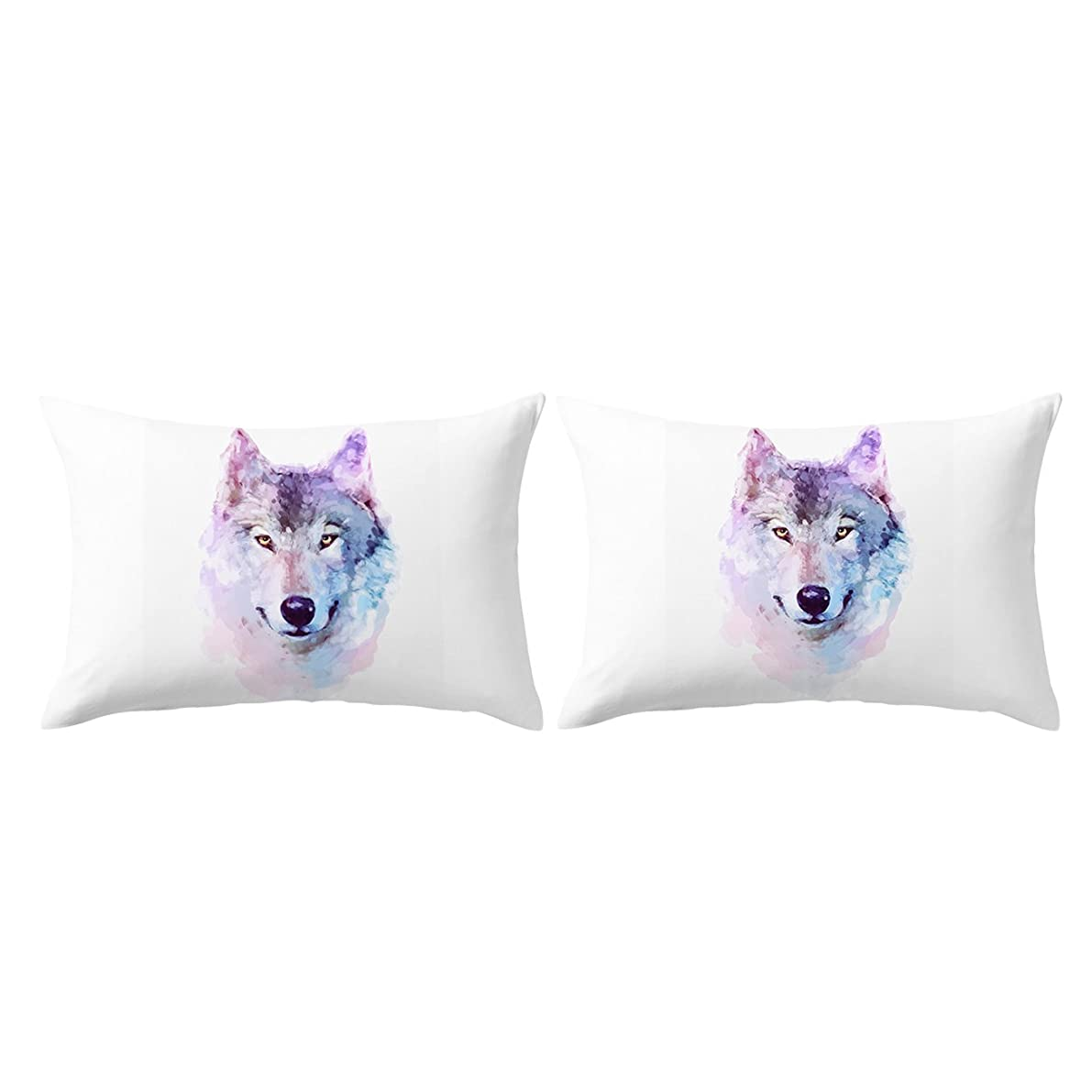 ARIGHTEX Wolf Pillow Cases 3D White Watercolor Pillow Cover Wolf Face Art Animal Pillow Covers Set of 2 (Artistic, Standard 20