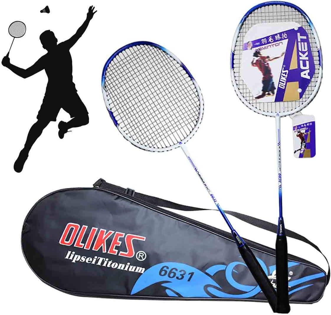 GUOHAPPY Raquetas Badminton, 4 Raquetas, 2 Bolsas, Juegos Divertidos de jardín Interior y Exterior, Aptos para Principiantes y Aficionados