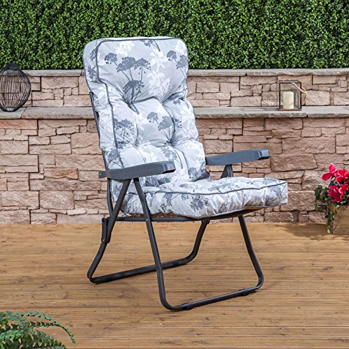 Alfresia Recliner Chair - Charcoal Frame with Classic Francesca Grey Cushion