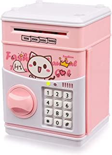Yoego New Kids Cartoon Electronic Money Bank, Security Piggy Bank Mini ATM Password Coins Money Savings Box Toys Smart Voice & Music Prompt,Code Lock for Children/Toy Gifts Birthday Gift (Pink cat)