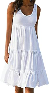 Womens Summer Solid Sleeveless Loose Tank Cotton Boho Casual Beach Sundress Mini Short Dress Plus Size