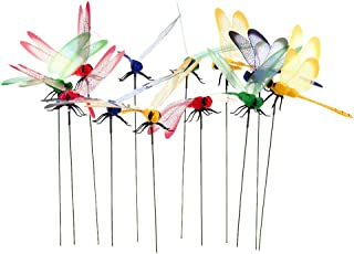 Datingday 12 Pack 3D Garden Dragonfly Stakes with Sticks Dragonfly Planter Miniature Fairy Garden Decoration,Big