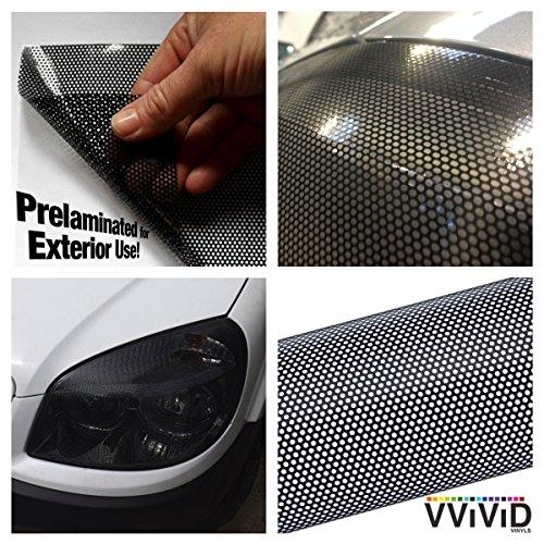 VViViD Black Perforated Headlight Wrap Self-Adhesive Cover 12