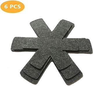 Protectores antiarañazos de la cacerola, estufas de los separadores de las protecciones antideslizantes del pote de 6 piezas y las superficies de protección de los utensilios de cocina (3 tamaños)