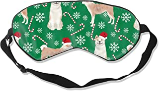 Akita Dog Breed Christmas Pepper Sticks Candy Cane Silk Sleep Mask Comfortable Blindfold Eye mask Adjustable for Men, Women or Kids