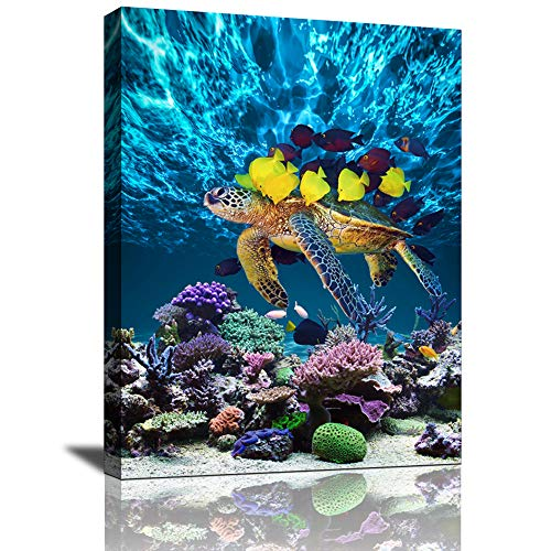Yi Chuang Art Bathroom Canvas Wall Art Kitchen Wall Decor Modern Blueocean Sea Turtle Wall art for Dining Room Colorful Fish Coral Beach Theme Pictures for bedroom Framed Wall Decor
