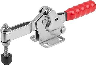 KIPP snabbnyckel K1241, horisontellt med justerbar tryckspindel, fot vågrätt, handtag: plast röd Länge L: 173mm Rostfritt ...