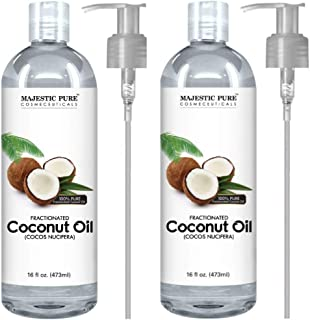 Majestic Pure Fractionated Coconut Oil, For Aromatherapy Relaxing Massage, Carrier Oil for Diluting Essential Oils, Hair & Skin Care Benefits, Moisturizer & Softener - Set of 2.