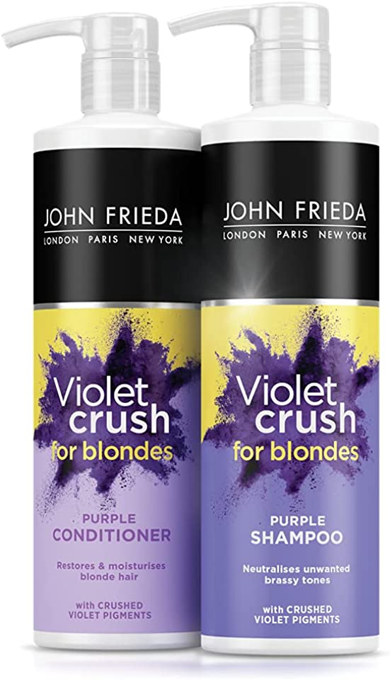John Frieda Sheer Blonde Violet Crush Tone Correcting Purple Shampoo and Conditioner for Blonde Hair, Neutralises Brassiness & Yellow Tones with Crushed Violet Pigments, Twin Pack 2 x 500 ml
