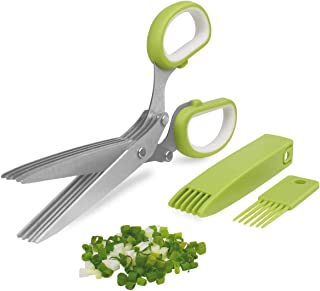 Herb Cutter Scissors 5 Blade Scissors Kitchen Multipurpose Cutting Shear with 5 Stainless Steel Blades & Safety Cover & Cl...