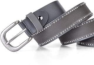 Fashion Leather Pants Belt Women's Casual Sports Rivet Belt. (Color : Grey)