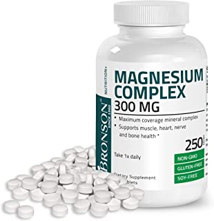 Triple Magnesium Complex Maximum Coverage 300 Mg Magnesium Oxide Magnesium Citrate Magnesium Carbonate, Non-GMO Formula, 2...