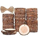MINGZE Legno 50 Pezzi Diametro 5-6cm Dischi Legno Naturale con Foro, con Corda Iuta Adatti per Natale Fai Da Te Decorazione di Matrimonio Ornamento di Natalizi (50)