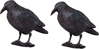 ARTECSIS Lot de Brema Figurine De Jardin, 2X Corbeau Anti-Pigeon Et De Décoration, Figurine en Plastique Noir (Lot de 2)