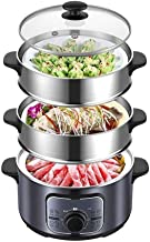 ZHGUO Riz Pot-Style Cuisinière et Cuit-vapeur,(cuit) avec minuterie 1300W rapide chauffage à vapeur en acier inoxydable Le...