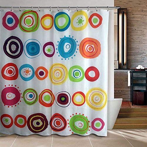 """Riverbyland Shower Curtain Doodle Circles 72"""" x 80"""""""