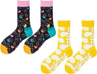 PRETYZOOM, PRETYZOOM 2 pares de calcetines de invierno con diseño de huevos de conejo, de algodón, cómodos y cálidos, calcetines de Pascua para mujeres y mujeres