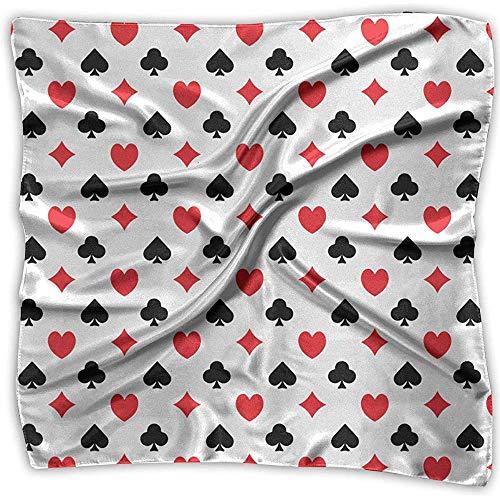 Uridy Pequeñas bufandas de seda para mujeres Ligero Satén Cuadrado/Pañuelo en la cabeza/Hairwrap/Neckscarf Casino Poker Patrón