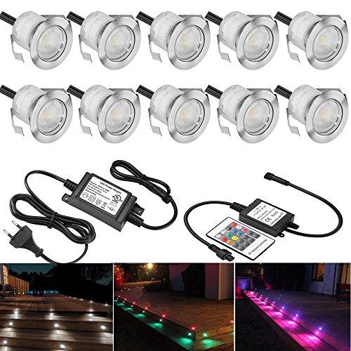10 Stück RGB LED Einbaustrahler led Bodeneinbauleuchte IP67 wasserdicht 0.6W Ø30mm led Einbauleuchte Terrasse Küche Garten Led Lampe